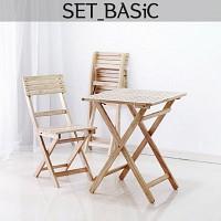 [벤트리] 원목접이식 카페테이블set-basic