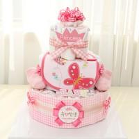 핑크체크 3단기저귀케익