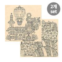 [컬러링 우드캔버스] 꿈의궁전+언덕위 마을(14인치)