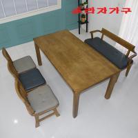 두라스 고무나무 원목 식탁세트 벤치형 6인
