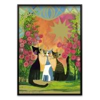 2000조각 금장퍼즐▶ 장미꽃밭아래 고양이들 (HE29721)