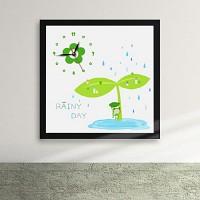 cx087-개구리와 비가 오는 날 액자시계