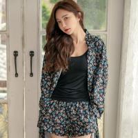 테라우드 여성용 플라워 실키 3부 주머니 바지 잠옷