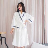 [쿠비카]네이비 레이스 면 타월 가운 여성잠옷 W257