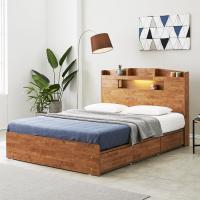 [노하우] 네이처 고무나무원목 LED 3서랍 침대 Q