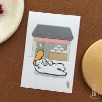 도로보우네코 부채 가게 고양이 사각 스티커
