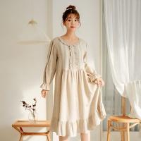 [쿠비카]러블리 프릴 기모 원피스 여성잠옷 W506