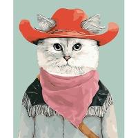 DIY 명화그리기키트 - 카우보이 캣 40x50cm (물감2배, 컬러캔버스, 명화, 동물, 고양이, 카우보이, 캣)