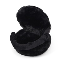 마카롱 폴딩 털귀마개(블랙)/ 길이조절 보온귀도리