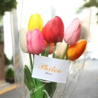 무지개 망고 튤립 꽃다발 생화같은 조화 여친 꽃 선물