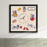 iw071-아기자기동물세상액자벽시계_디자인액자시계