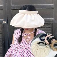 해바라기 여성 넓은 챙모자 썬캡