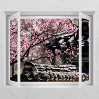 ca642-꽃나무아래기와집_창문그림액자