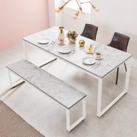 스틸마블 6인용 식탁테이블 1600x600+벤치의자세트