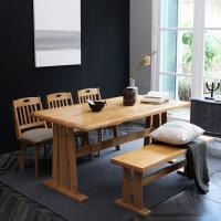 [이노센트플러스] 리브  메론 티폰 6인 회전의자 식탁세트(벤치형)