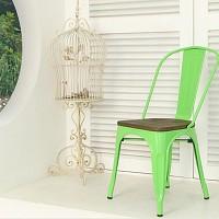 [썸바이썸] 빈티지 철재의자-우드상판 (유광)6color