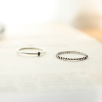 black thin silver ring