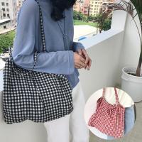 비올랑 여성 체크무늬 에코백 데일리 캔버스백 숄더백