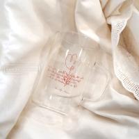 [ 라인 드로잉 내열유리컵 ] 홈카페 레터링유리컵