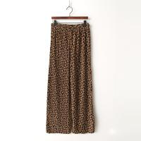 Velvet Leopard Pleats Wide Pants