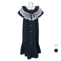[쿠비카]오픈형 이중 레이스 원피스 여성잠옷 W740