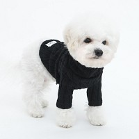 Cable Long Sleeve Sweater(Black)