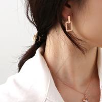 14K 무광 빈티지 사각 원터치 귀걸이