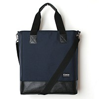 LEATHER TOTE BAG - DARK NAVY--
