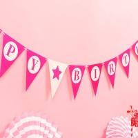 페이퍼 생일 삼각가랜드(핫핑크)