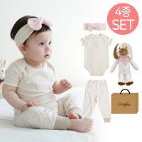 오가닉여아백일여름선물세트(애착인형아기두두+의류조