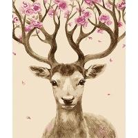 DIY 명화그리기키트 - 꽃뿔 아기사슴 40x50cm (물감2배, 컬러캔버스, 명화, 동물, 사슴, 아기사슴, 꽃뿔)