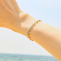 i_b26- orange quartz _ blue bracelets