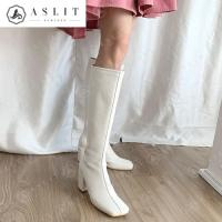 [애슬릿]여성 스퀘어 하이 힐 지퍼 롱 부츠 7.5cm