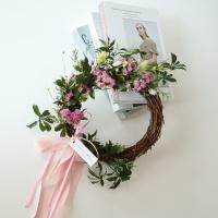 프리저브드 핑크 스타치스 꽃 리스(L)