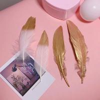 [무료배송]골드 화이트 인조깃털 인테리어 소품 2p