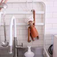 우드 원숭이 요리사 목각인형