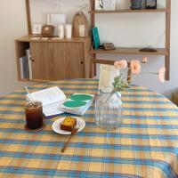 에블린 빈티지 체크 방수 식탁보 2인L