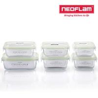 네오플램 프레시락 내열유리 밀폐용기 6종세트