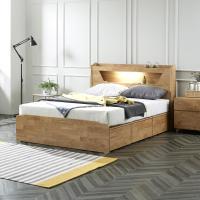 플라망 디미트 원목 LED 조명 콘센트 침대 Q 퀸