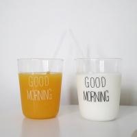굿모닝 커플유리컵 (커플아이템 신혼선물, 2color)