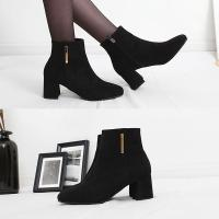[애슬릿]골드 포인트 스웨이드 여성 앵클 부츠 6cm