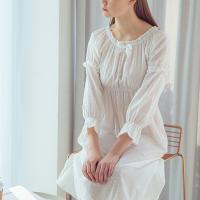 Angel 리본 허리 주름 면잠옷 여성 원피스잠옷