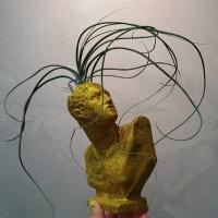 골드 펄 아트 소형 미니 석고상화분 20cm내외+리본2개