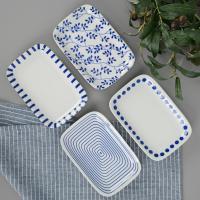 일본식기 모던블루 직사각 접시
