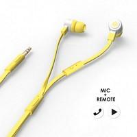 에어로폰 마이크/리모트기능 플랫케이블 이어폰 - MQGT26[옐로우]