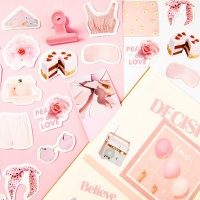 핑크 조각 스티커
