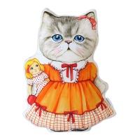고양이삼촌 쿠션 - 오렌지드레스 루미