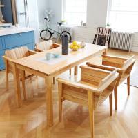 고트 애쉬 4인 와이드 식탁세트 / 의자