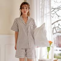 [쿠비카]스트라이프 반팔 순면 투피스 여성잠옷 W465