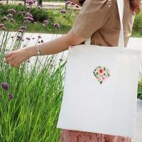 프랑스자수 패키지 DIY 꽃다이아몬드 에코백 화이트